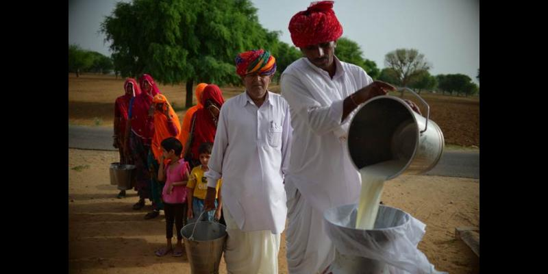 Member Pouring Milk in Paayas